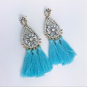 New! Flower Crystals Light Blue Tassels Earrings